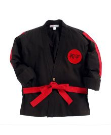 Kidsclan Full Sleeves Karate Theme Shirt With Belt - Black & Red