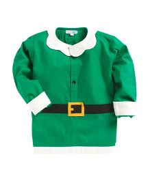 Kidsclan Full Length Santa Claus Theme Shirt - Green