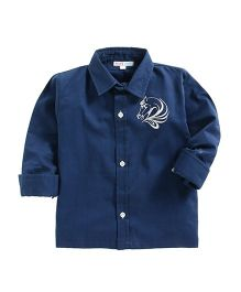 Kidsclan Full Sleeves Shirt With Horse Logo Print - Navy Blue
