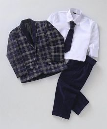 Rikidoos 3 Piece Checkered Coat Suit Party Wear Set - Olive Green & Navy Blue