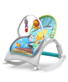 Flyers Bay Bouncer Cum Rocker With Toy Bar Animal Print - Blue