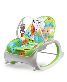 Flyers Bay Bouncer Cum Rocker With Toy Bar Animal Print - Multicolour