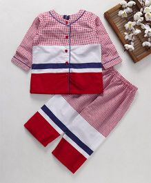 Enfance Core Striped & Small Check Night Suit - Red