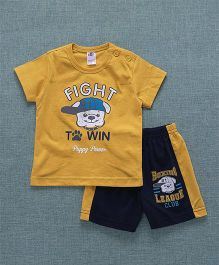 Zero Short Half Sleeves T-Shirt & Shorts Puppy Power Print - Yellow