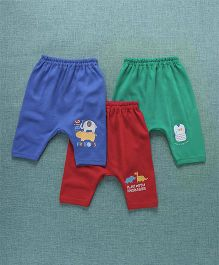 Zero Diaper Leggings Pack of 3 - Blue Red & Green