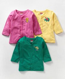 Babyhug Full Sleeves Cotton Vest Pack of 3 - Green Pink Yellow