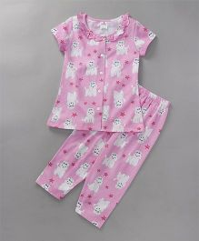 Smarty Half Sleeves Night Suit Star & Puppy Print - Pink