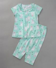 Smarty Half Sleeves Night Suit Star & Puppy Print - Green