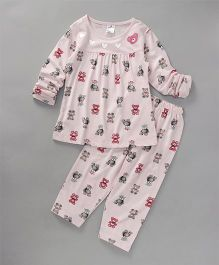 Smarty Full Sleeves Night Suit Teddy & Heart Print - Light Pink