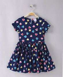 Smarty Short Sleeves Frock Allover Heart Print - Navy Blue