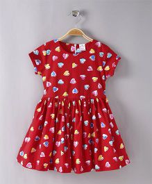Smarty Short Sleeves Frock Allover Heart Print - Red