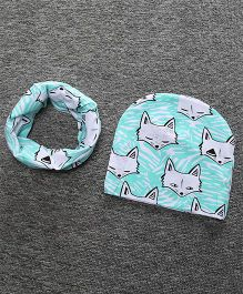 Milonee Fox Print Beanie Cap And Ring Warmer Scarf - Sea Blue