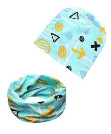 Milonee Printed Beanie Cap And Ring Warmer Scarf - Blue
