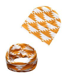Milonee Abstract Triangle Print Beanie Cap And Ring Warmer Scarf - Orange & White