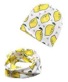 Milonee Lemon Print Beanie Cap And Ring Warmer Scarf - White