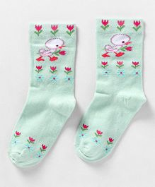 Mustang Quarter Length Floral Design Socks - Mint Green