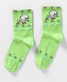Mustang Quarter Length Socks Bird Print - Light Green