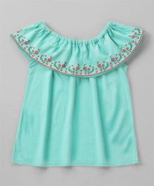 Babyhug Short Sleeves Top Embossed Floral Design - Green