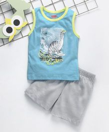 Babyhug Sleeveless T-Shirt And Shorts Dino Print - Blue & Grey