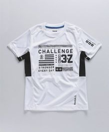 Reebok Half Sleeve Sports T-Shirt Text Print - White Black