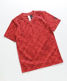 Adidas Half Sleeves T-Shirt Text Print - Red