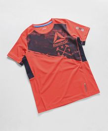 Reebok Half Sleeves T-Shirt Text Print - Coral