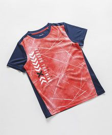 Reebok Half Sleeves T-Shirt Criss Cross Print - Coral Navy Blue