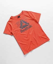 Reebok Half Sleeves T-Shirt Text Print - Orange