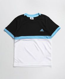 Adidas Half Sleeves T-Shirt Text Print - Black White & Blue