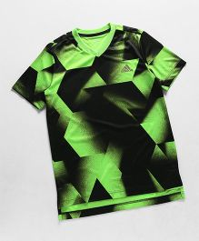 Adidas Half Sleeves T-Shirt Texture Print - Black& Green