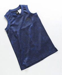 Adidas Sleeveless Textured T-Shirt - Navy Blue