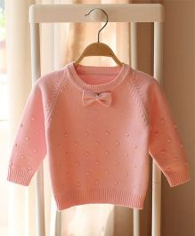 Pre Order - Awabox Bow Applique Sweater - Pink
