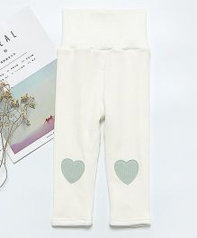Pre Order - Awabox Heart Patch Leggings - White