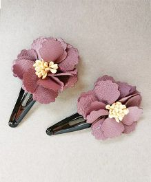 Tiny Closet Big Flower Snap Clip Set Of 2 - Purplish Grey