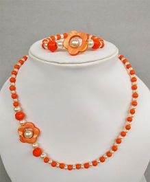 Tiny Closet Flower Design Bracelet & Necklace - Orange