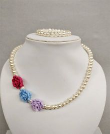 Tiny Closet Rose Design Bracelet & Necklace - Purple Blue & Magenta