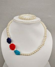 Tiny Closet Rose Design Bracelet & Necklace - Blue Red & Sky Blue