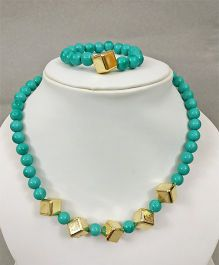 Tiny Closet Cube Design Necklace & Bracelet - Sea Green