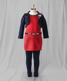 Eiora Party Wear Dress With Shrug & Leggings - Red & Navy