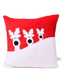 Benny & Bunny Cushion Reindeer Embroidery - Red & White