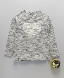 Mothercare Full Sleeves Sweater Heart Design - Grey