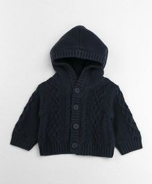 Mothercare Full Sleeves Hooded Knit Cardigan - Navy Blue