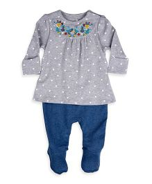 Mothercare Full Sleeves Frock Heart Print & Footed Leggings Set - Grey & Blue