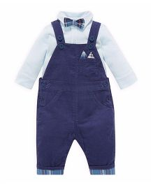 Mothercare Dungaree With Inner Shirt With Bow Set - Blue