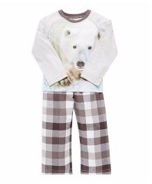 Mothercare Full Sleeves T-Shirt & Lounge Pants Checks & Polar Bear Print - White