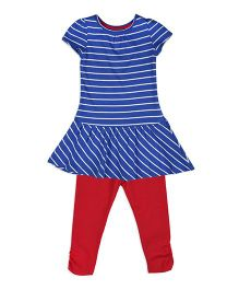 Mothercare Short Sleeves Striped Frock With Leggings Set - Blue & Red