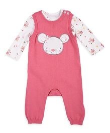 Mothercare Knitted Dungaree & Bodysuit Mouse Applique - Pink White