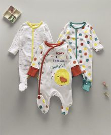 Mothercare Full Sleeves Footed Sleepsuit With Bird Print Pack of 3 - White