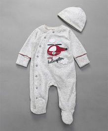 Mothercare Side Open Footed Romper With Cap Helicopter Patch - White