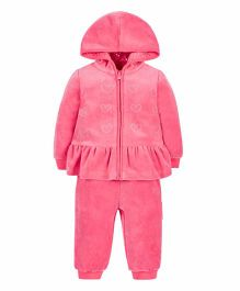 Mothercare Full Sleeves Sweat Jacket & Joggers Set Stone Embellishment - Pink